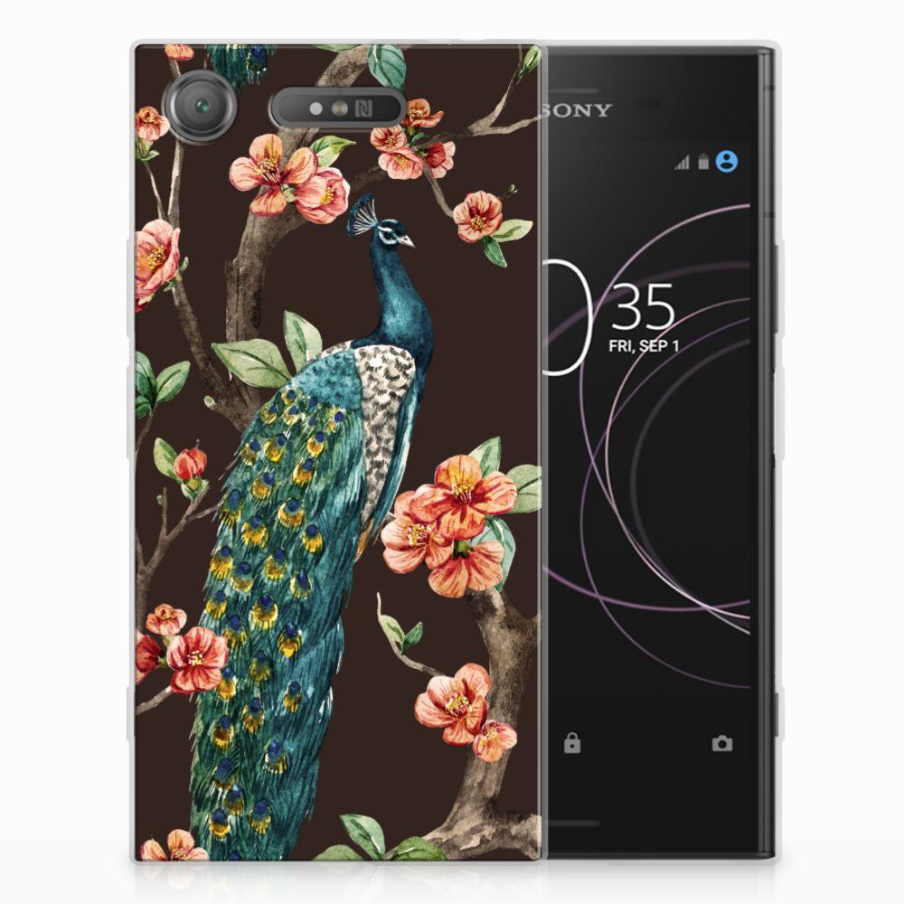 Sony Xperia XZ1 TPU Hoesje Design Pauw met Bloemen