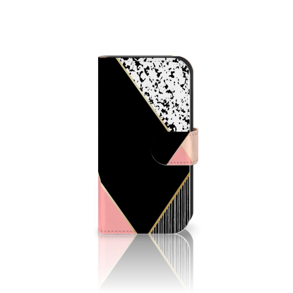 Samsung Galaxy Ace 4 4G (G357-FZ) Uniek Boekhoesje Black Pink Shapes