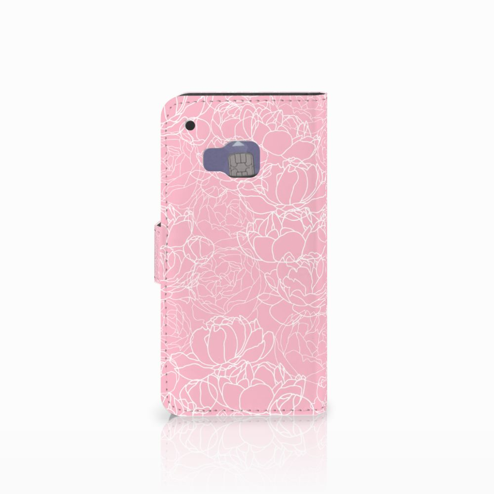 HTC One M9 Wallet Case White Flowers