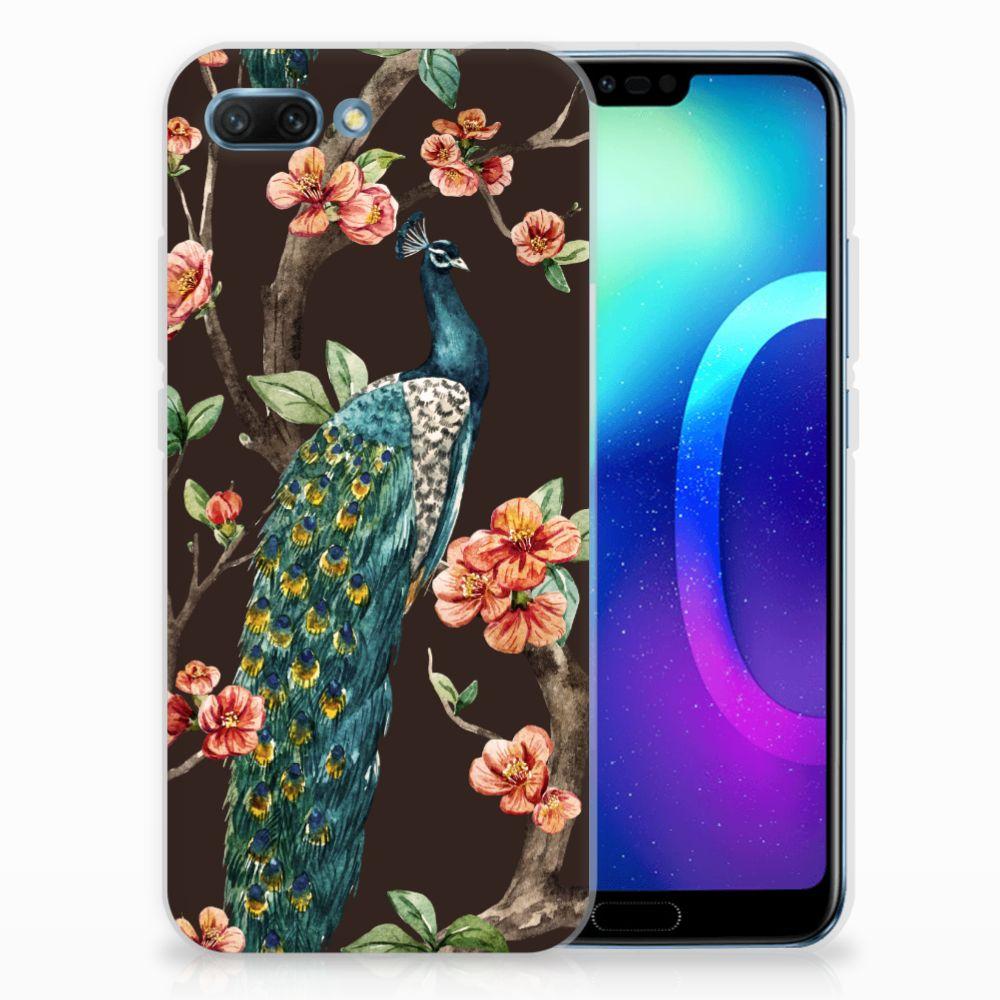 Huawei Honor 10 TPU Hoesje Pauw met Bloemen