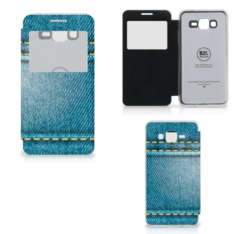 Samsung Galaxy Grand Prime Wallet Case met Pasjes Jeans