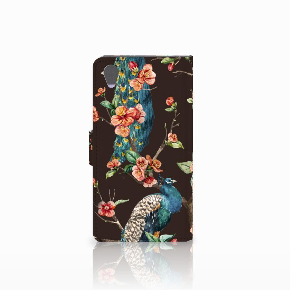 Sony Xperia Z1 Telefoonhoesje met Pasjes Pauw met Bloemen