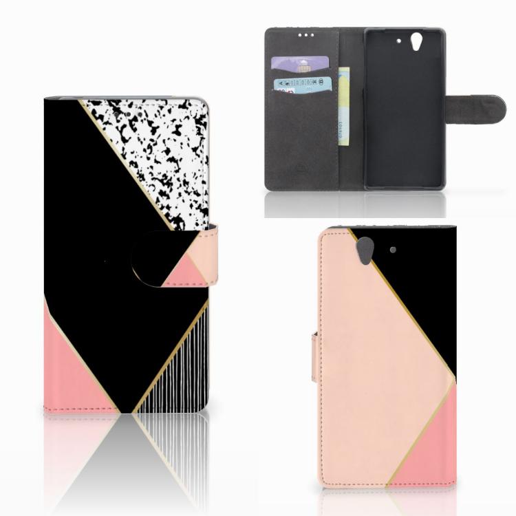 Sony Xperia Z Bookcase Zwart Roze Vormen