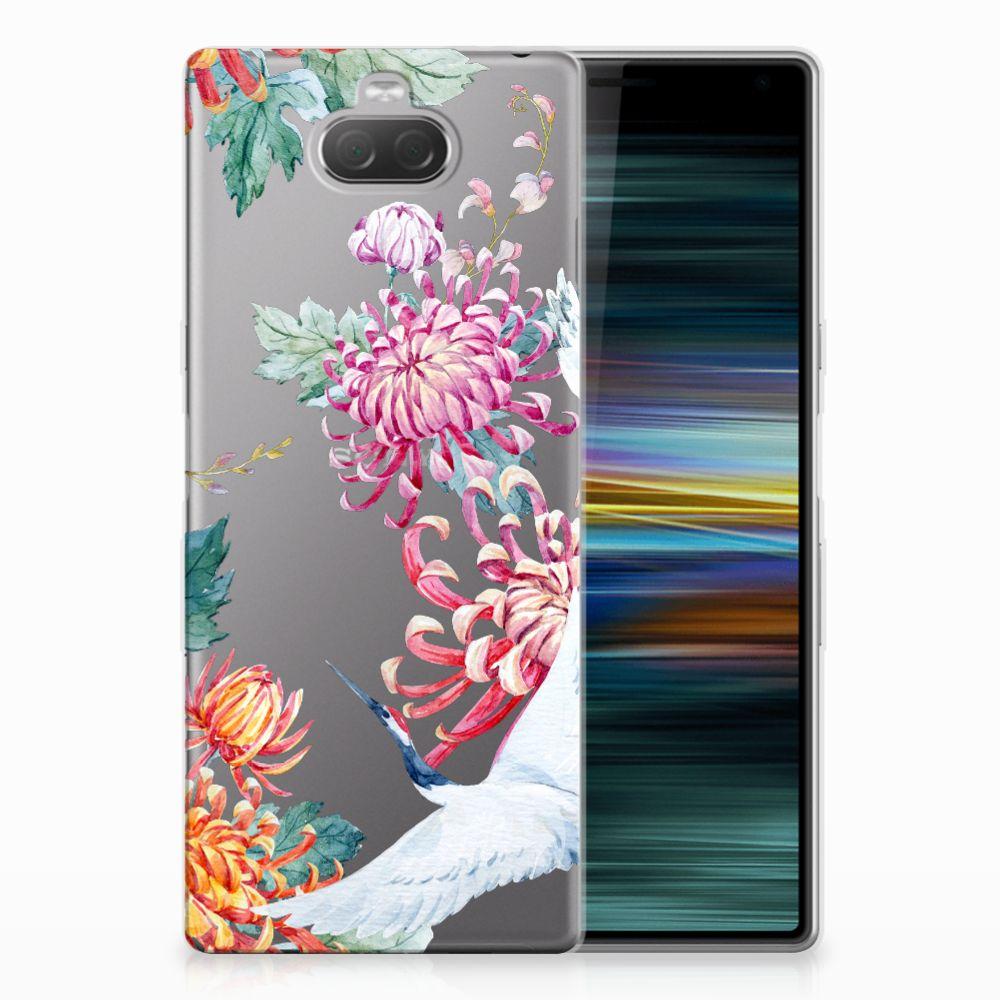 Sony Xperia 10 Plus TPU Hoesje Bird Flowers