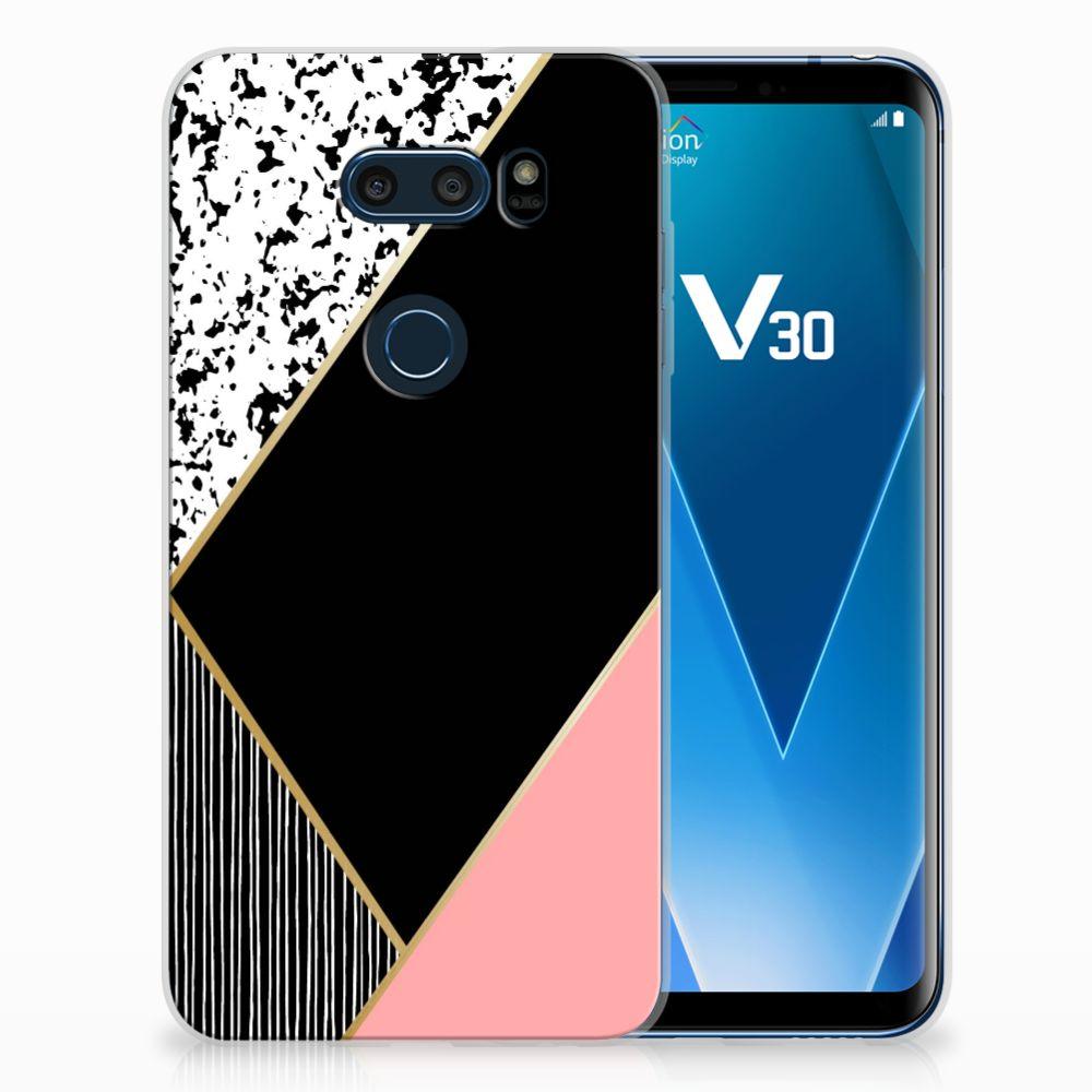 LG V30 TPU Hoesje Zwart Roze Vormen