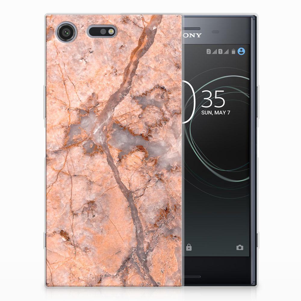 Sony Xperia XZ Premium TPU Siliconen Hoesje Marmer Oranje