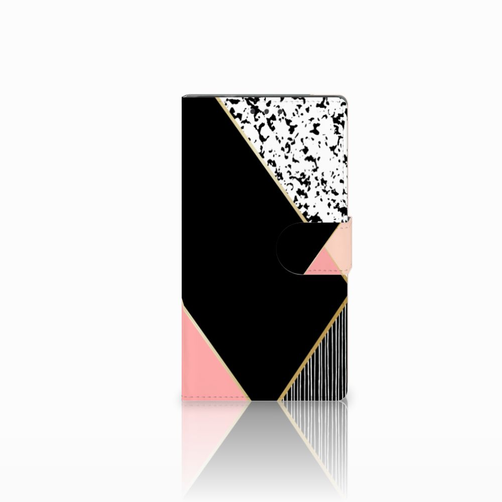 Samsung Galaxy Note 4 Uniek Boekhoesje Black Pink Shapes
