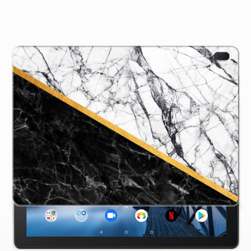 Lenovo Tab E10 Tablet Back Cover Marmer Wit Zwart
