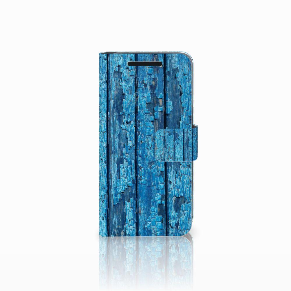 HTC One M9 Uniek Boekhoesje Wood Blue