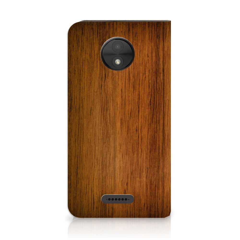 Motorola Moto C Uniek Standcase Hoesje Donker Hout