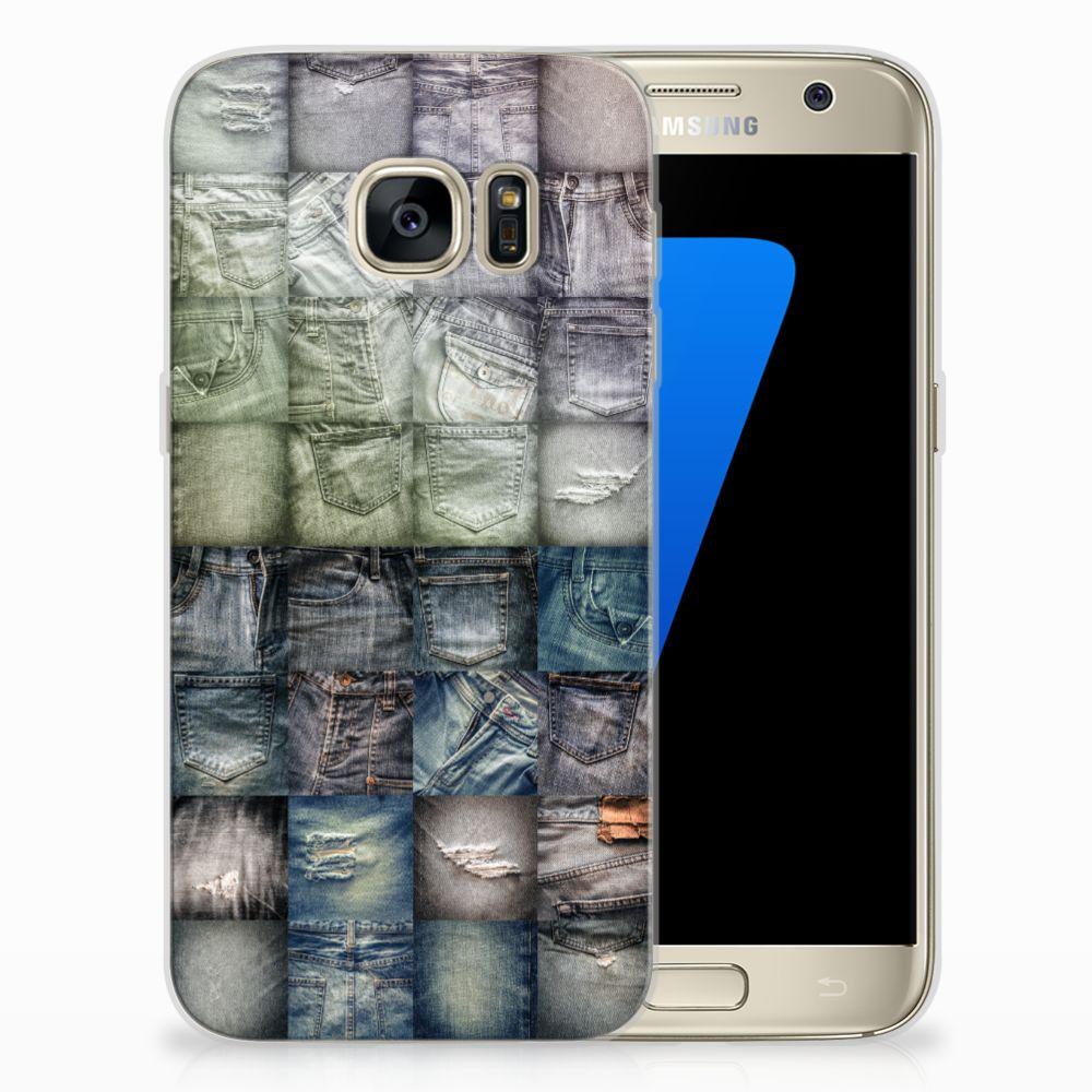 Samsung Galaxy S7 Uniek TPU Hoesje Spijkerbroeken