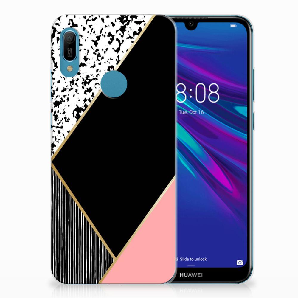 Huawei Y6 2019 | Y6 Pro 2019 TPU Hoesje Zwart Roze Vormen