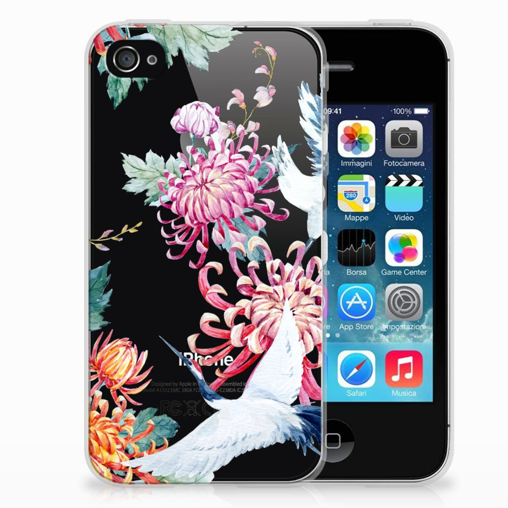 Apple iPhone 4 | 4s Uniek TPU Hoesje Bird Flowers
