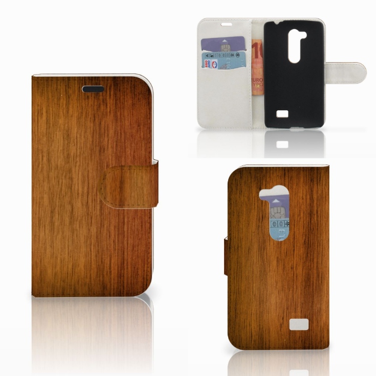 LG L Fino Book Style Case Donker Hout