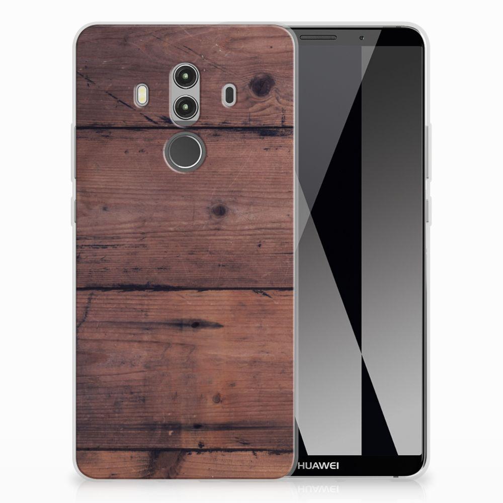 Huawei Mate 10 Pro Uniek TPU Hoesje Old Wood