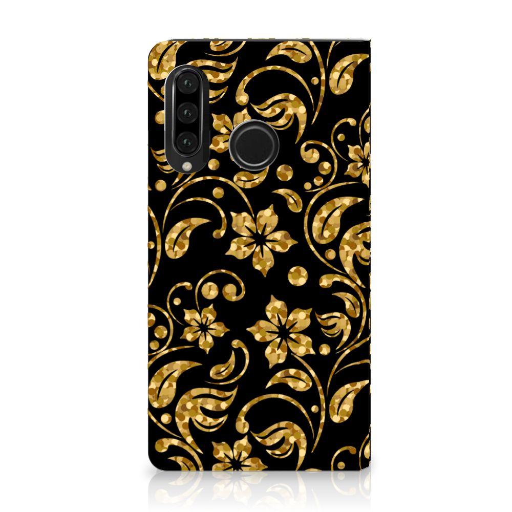 Huawei P30 Lite Standcase Hoesje Design Gouden Bloemen