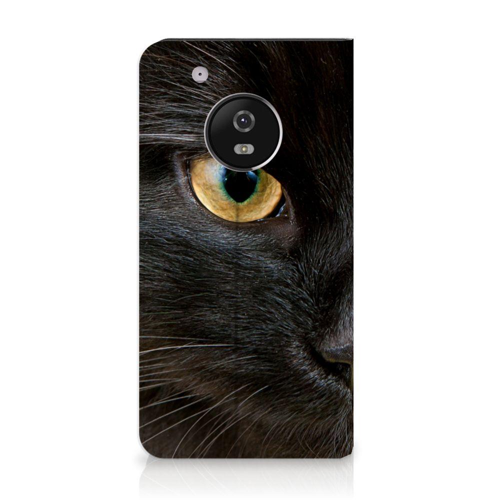 Motorola Moto G5 Plus Uniek Standcase Hoesje Zwarte Kat