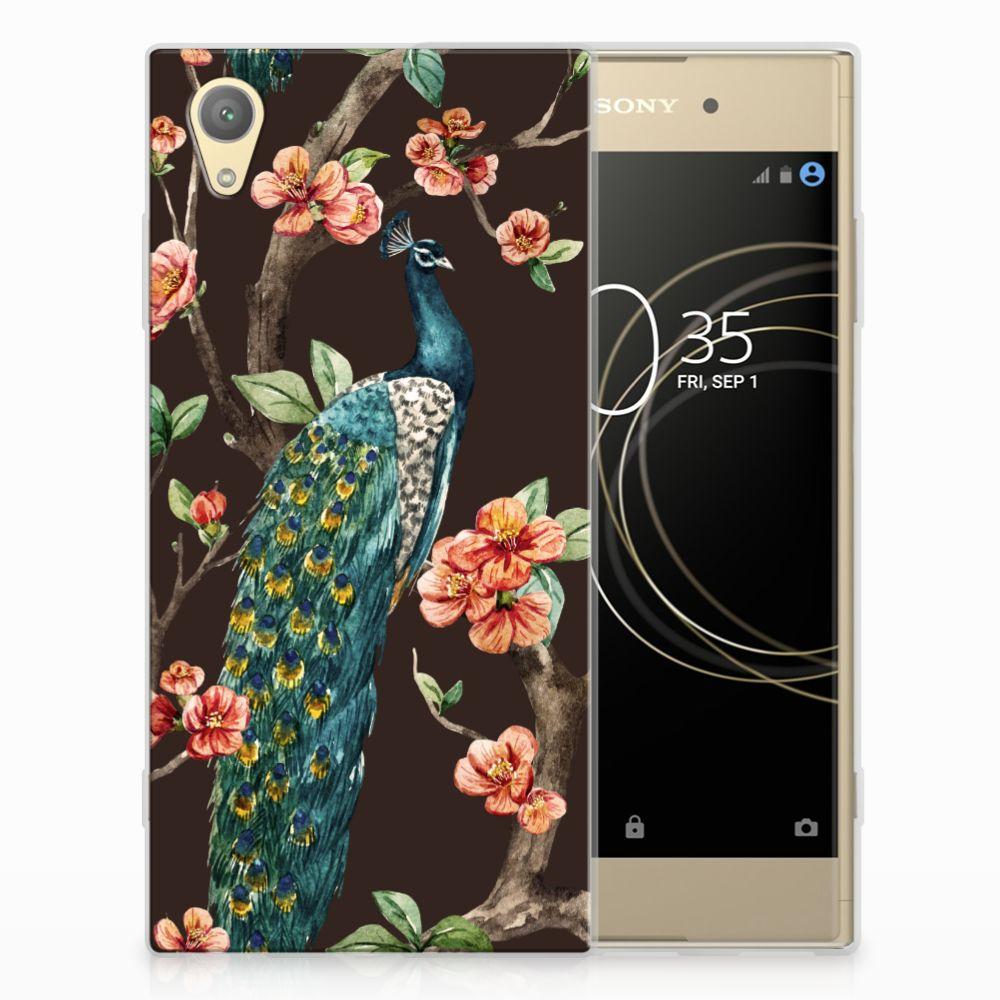Sony Xperia XA1 Plus TPU Hoesje Design Pauw met Bloemen