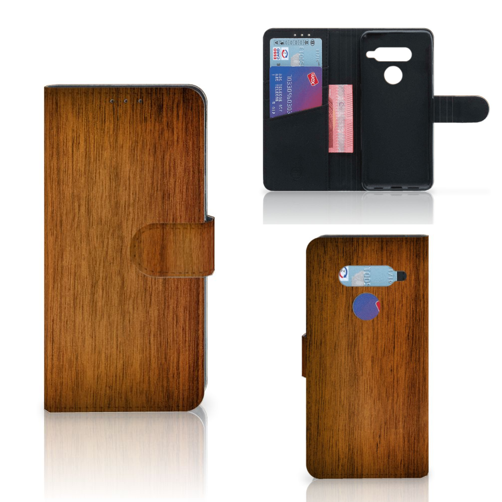 LG V40 Thinq Book Style Case Donker Hout