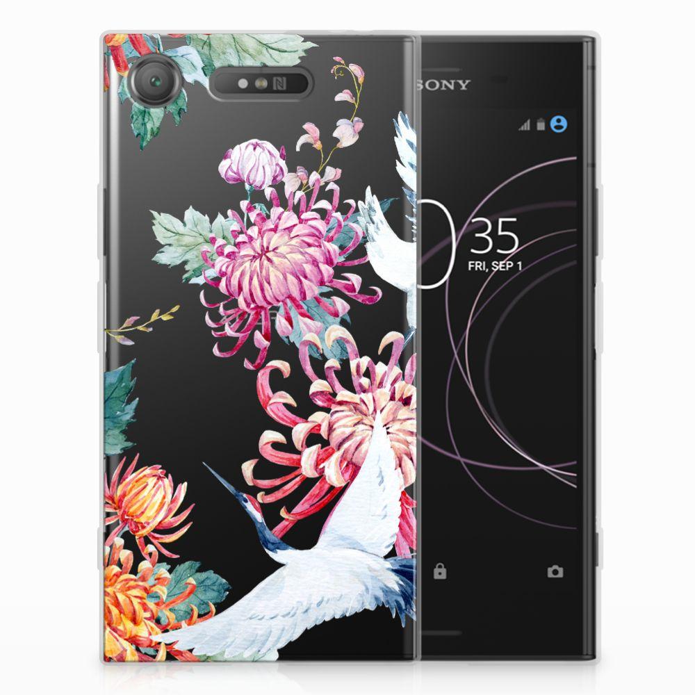 Sony Xperia XZ1 TPU Hoesje Bird Flowers