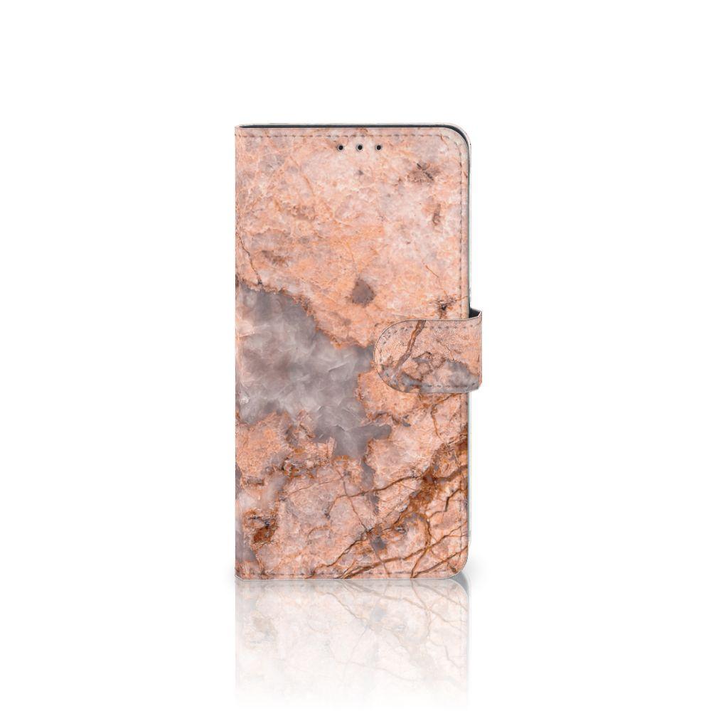 Samsung Galaxy A8 Plus (2018) Boekhoesje Design Marmer Oranje