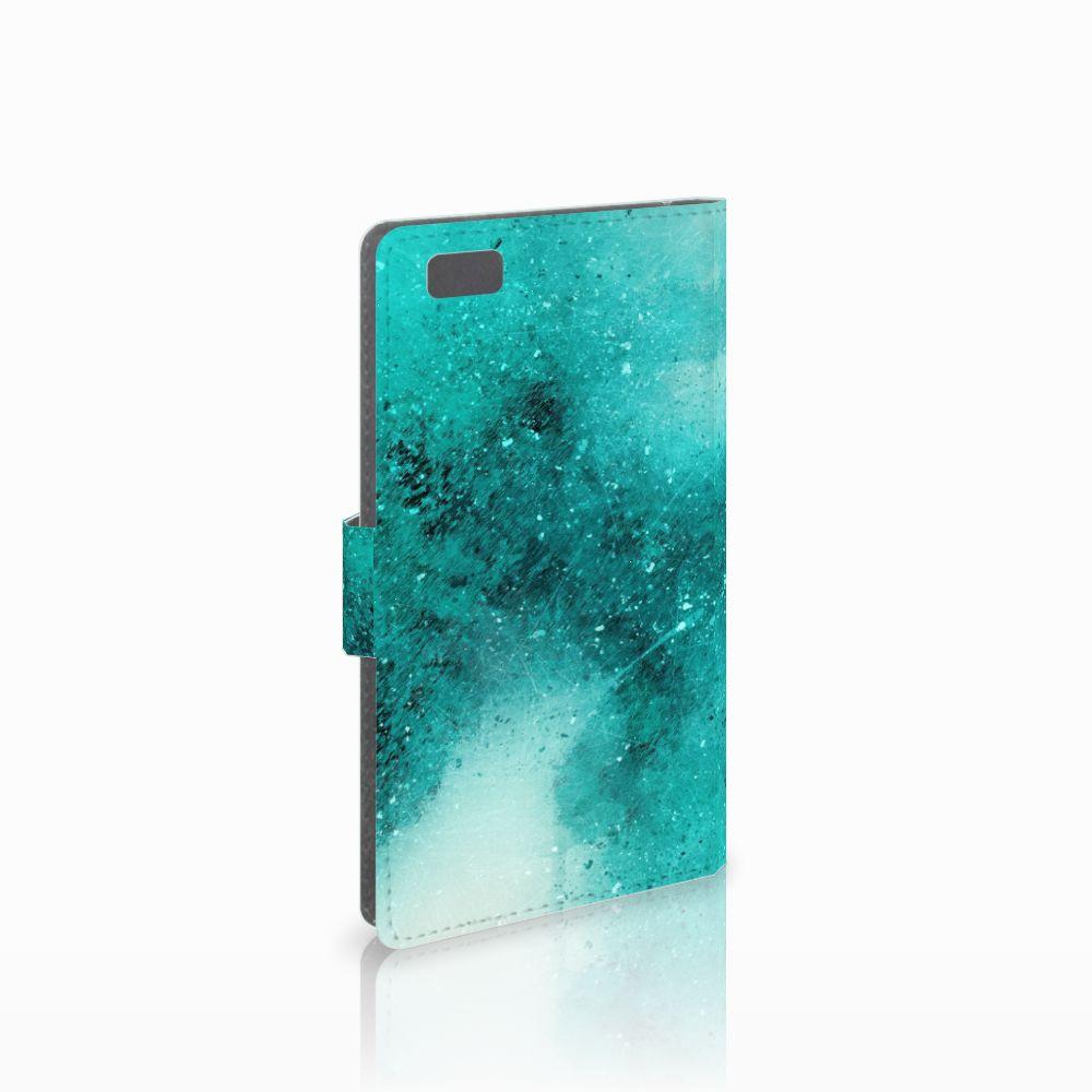 Huawei Ascend P8 Lite Uniek Boekhoesje Painting Blue