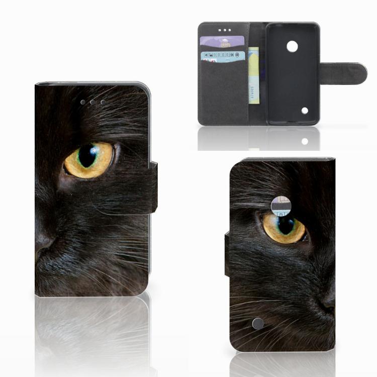 Nokia Lumia 530 Telefoonhoesje met Pasjes Zwarte Kat