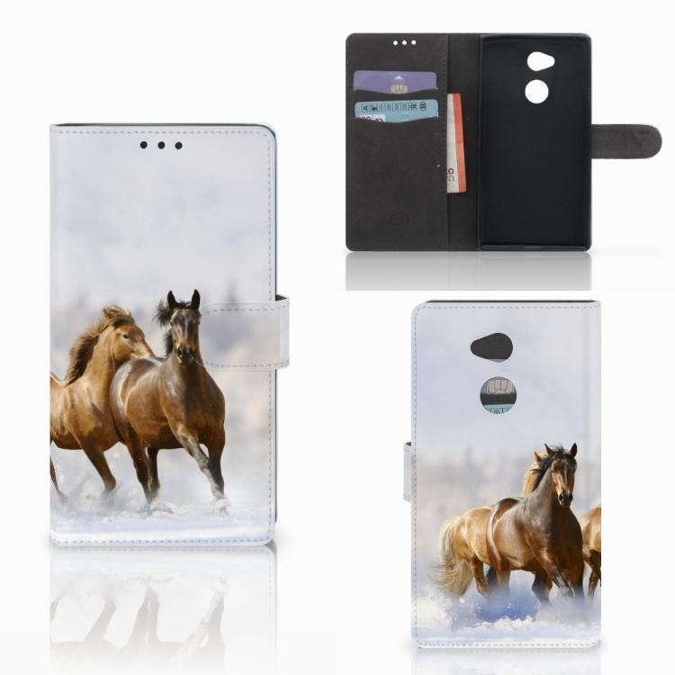 Sony Xperia XA2 Ultra Telefoonhoesje met Pasjes Paarden