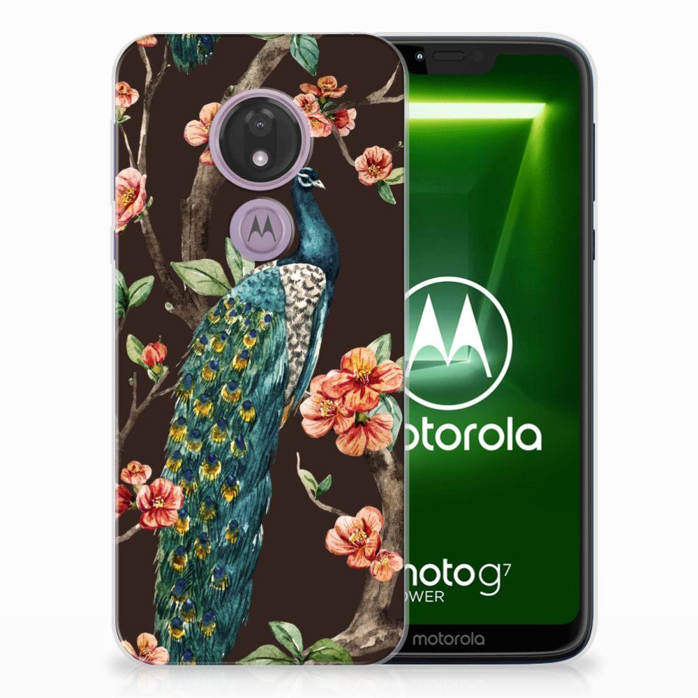 Motorola Moto G7 Power TPU Hoesje Pauw met Bloemen