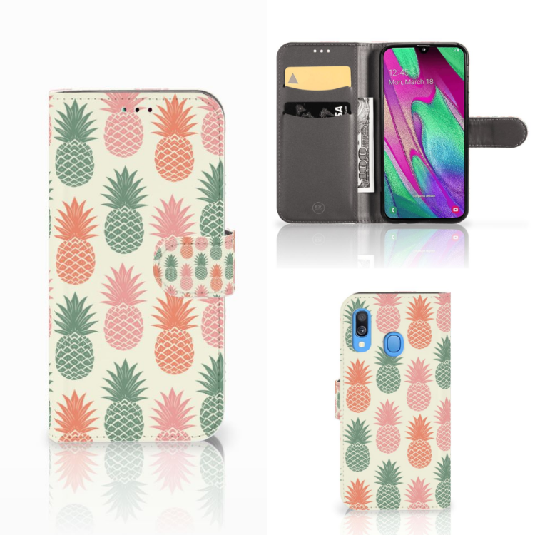 Samsung Galaxy A40 Book Cover Ananas