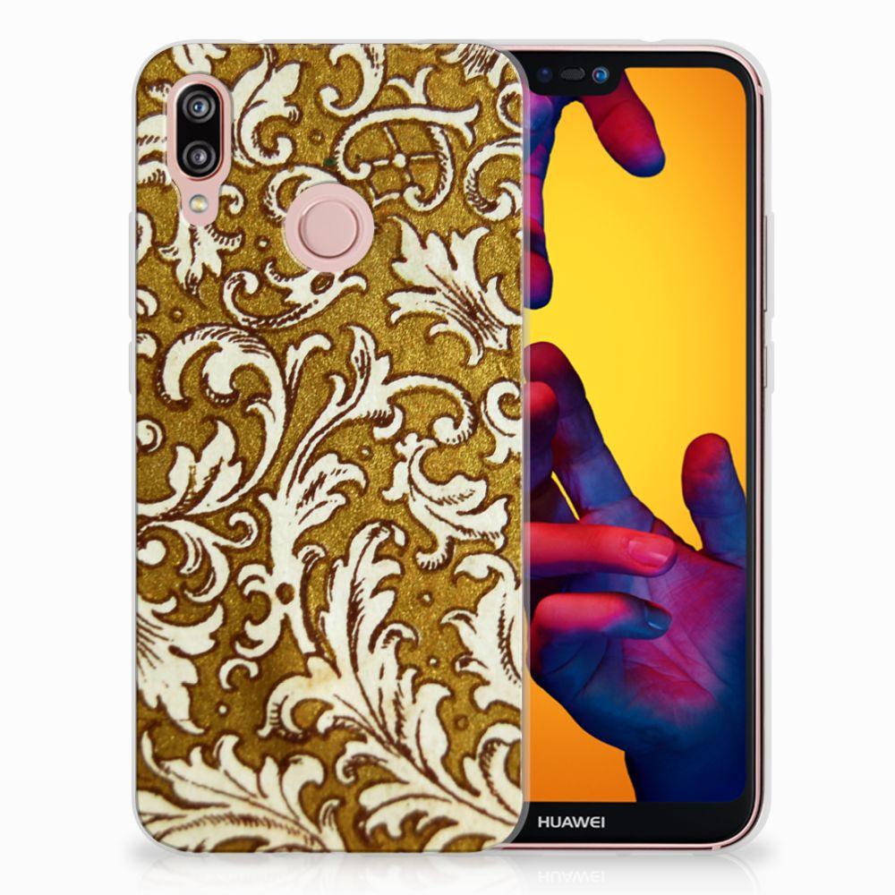 Huawei P20 Lite TPU Hoesje Design Barok Goud