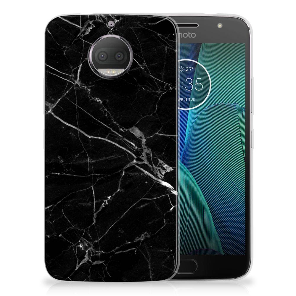 Motorola Moto G5S Plus Uniek TPU Hoesje Marmer Zwart