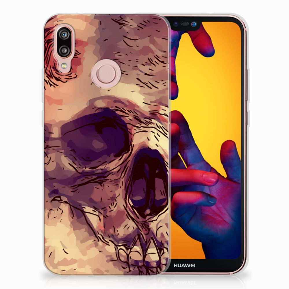 Huawei P20 Lite Uniek TPU Hoesje Skullhead