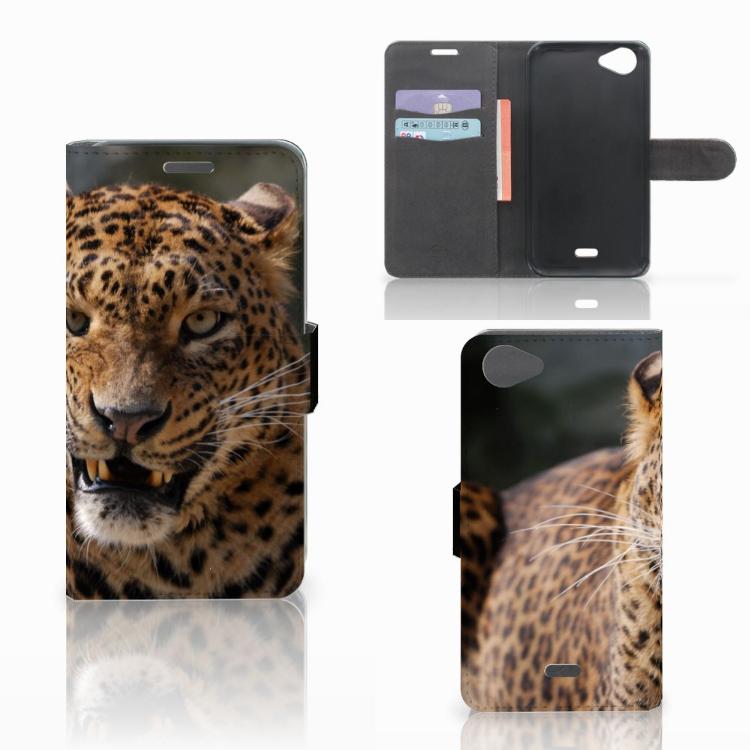 Wiko Rainbow Jam Telefoonhoesje met Pasjes Luipaard
