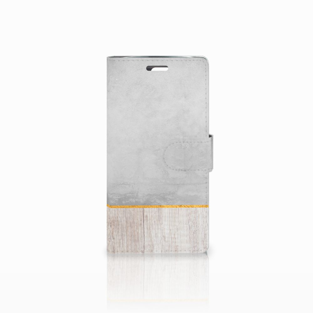 LG K10 2015 Book Style Case Wood Concrete