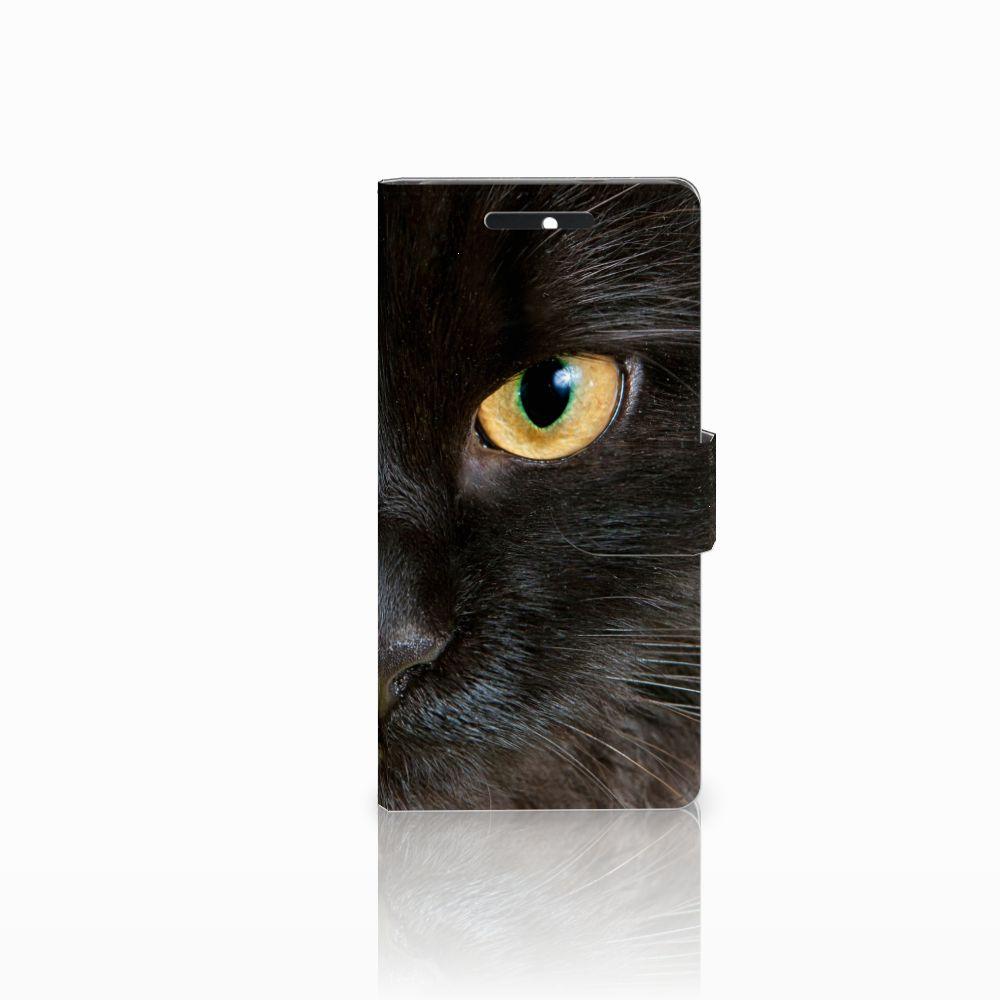 HTC Desire 628 Uniek Boekhoesje Zwarte Kat