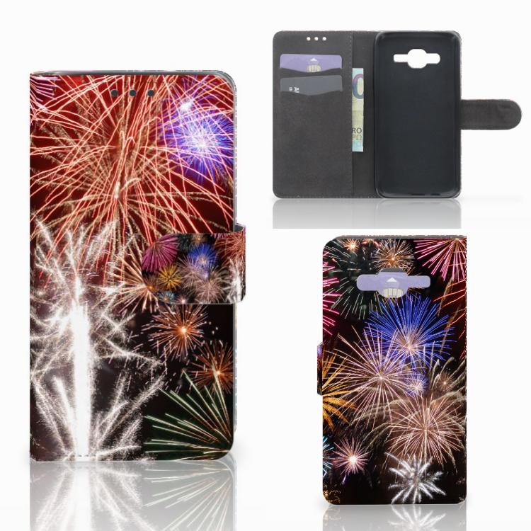 Samsung Galaxy J5 (2015) Wallet Case met Pasjes Vuurwerk