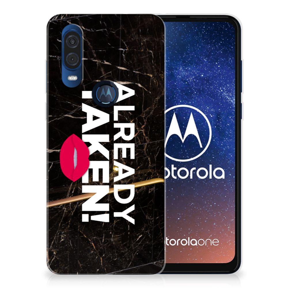 Motorola One Vision Siliconen hoesje met naam Already Taken Black