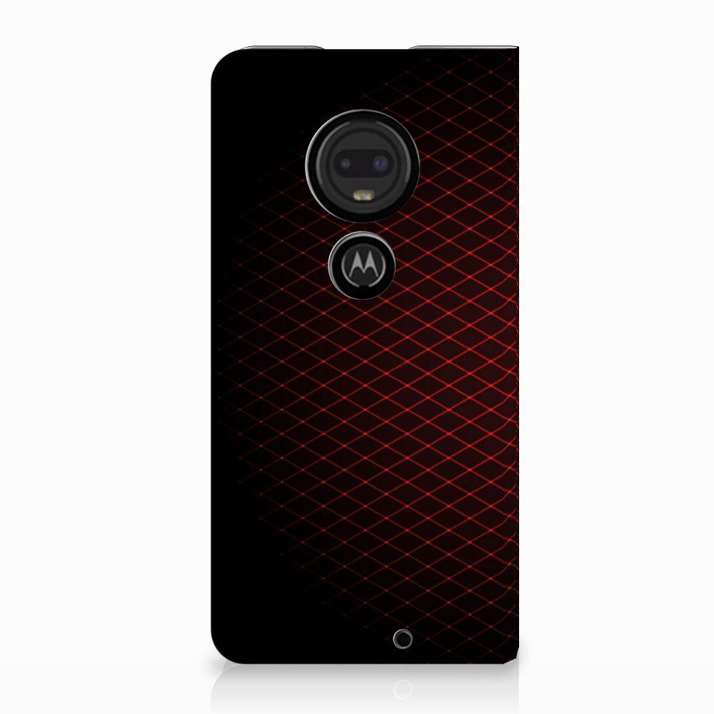 Motorola Moto G7 | G7 Plus Uniek Standcase Hoesje Geruit Rood