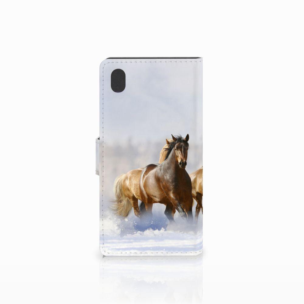 Sony Xperia M4 Aqua Telefoonhoesje met Pasjes Paarden
