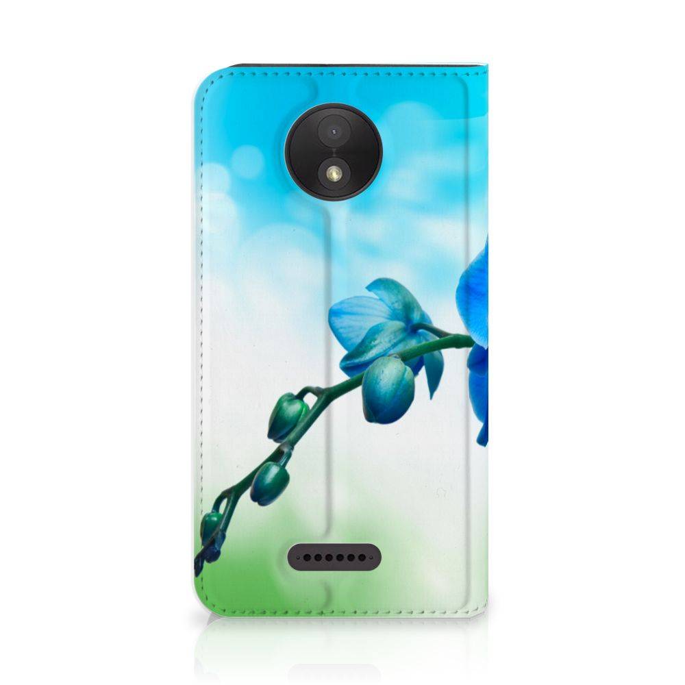 Motorola Moto C Plus Standcase Hoesje Design Orchidee Blauw