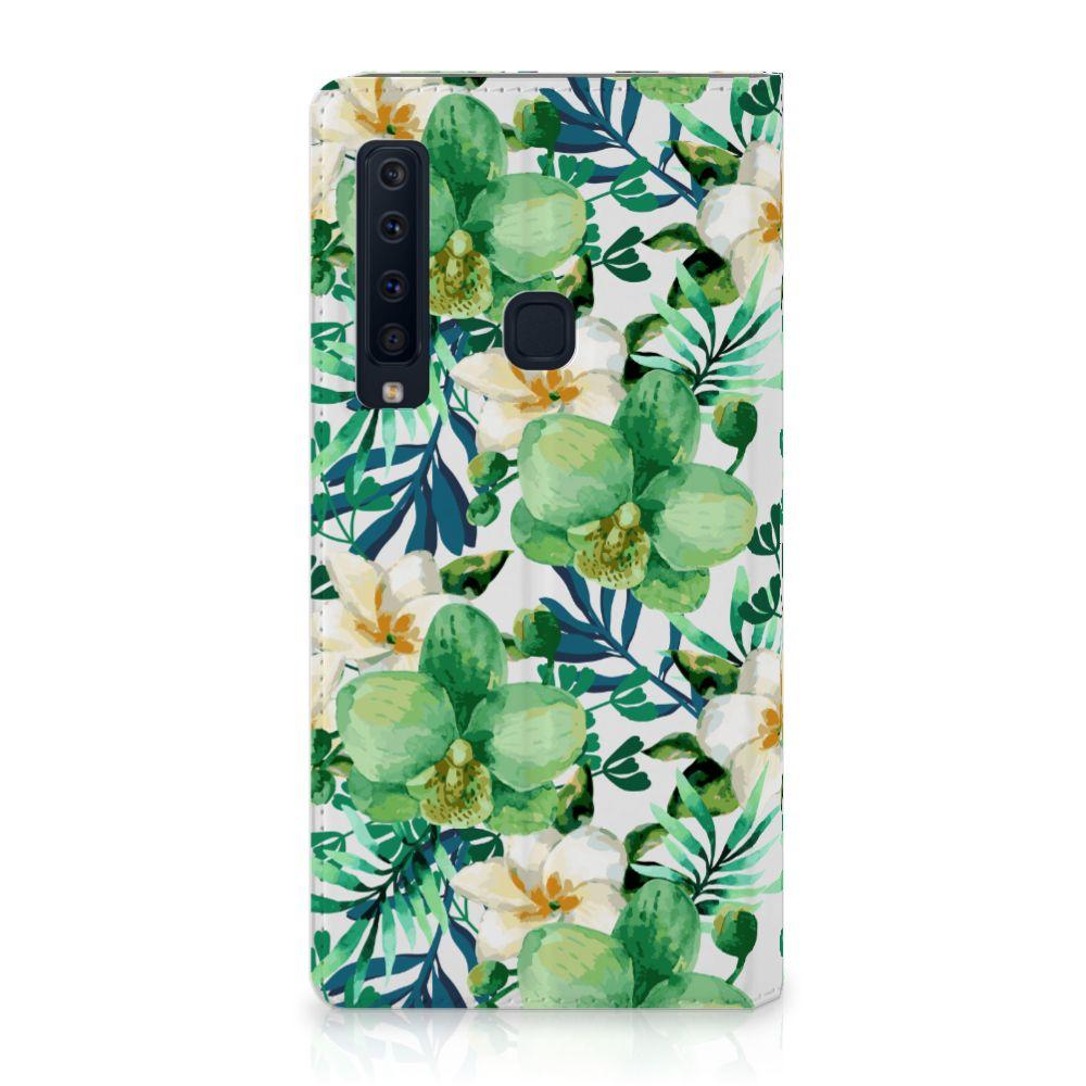 Samsung Galaxy A9 (2018) Uniek Standcase Hoesje Orchidee Groen
