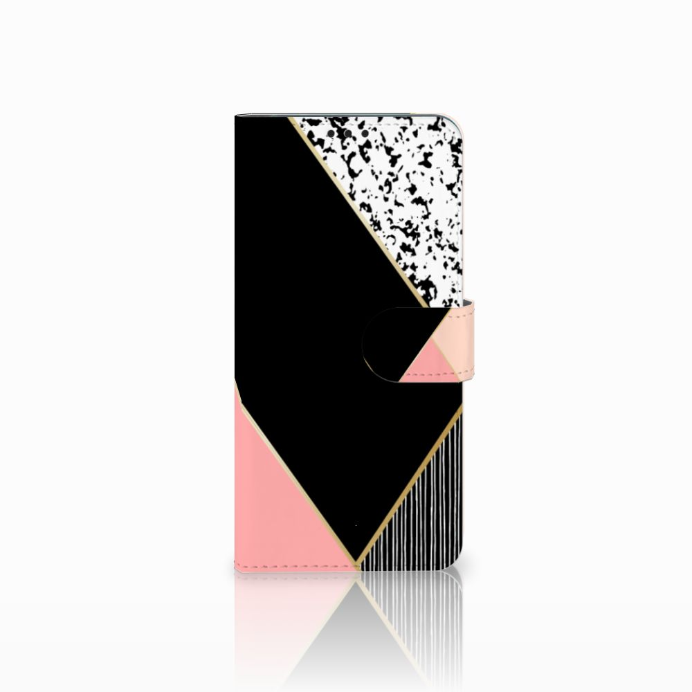 Huawei P Smart Plus Uniek Boekhoesje Black Pink Shapes