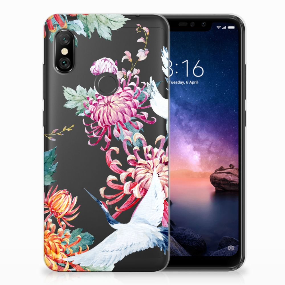 Xiaomi Redmi Note 6 Pro Uniek TPU Hoesje Bird Flowers