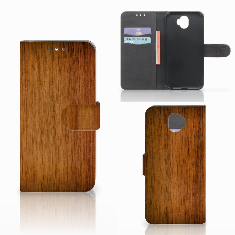 Wiko Wim Book Style Case Donker Hout