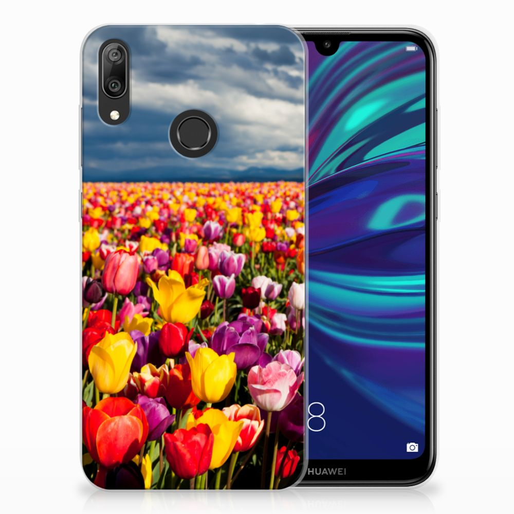 Huawei Y7 2019 Uniek TPU Hoesje Tulpen
