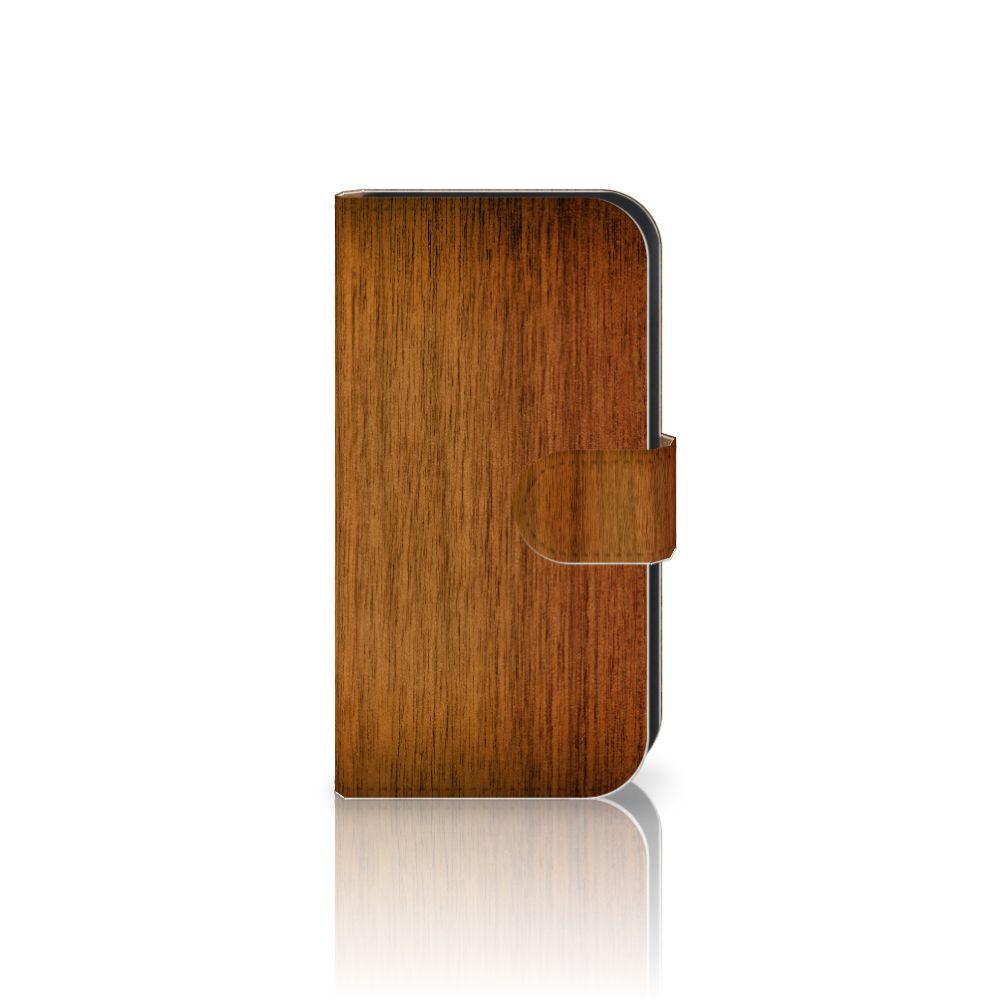 Samsung Galaxy Ace 4 4G (G357-FZ) Uniek Boekhoesje Donker Hout