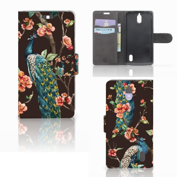 Huawei Y625 Telefoonhoesje met Pasjes Pauw met Bloemen