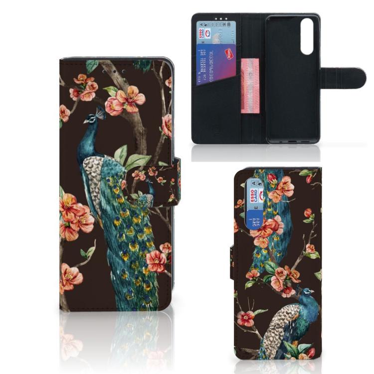 Sony Xperia 5 Telefoonhoesje met Pasjes Pauw met Bloemen