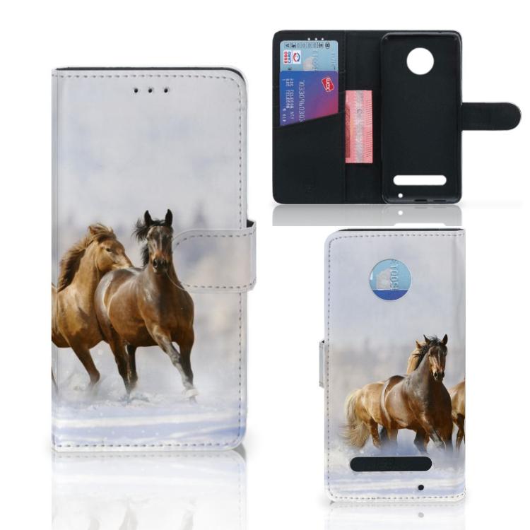 Motorola Moto Z2 Play Telefoonhoesje met Pasjes Paarden